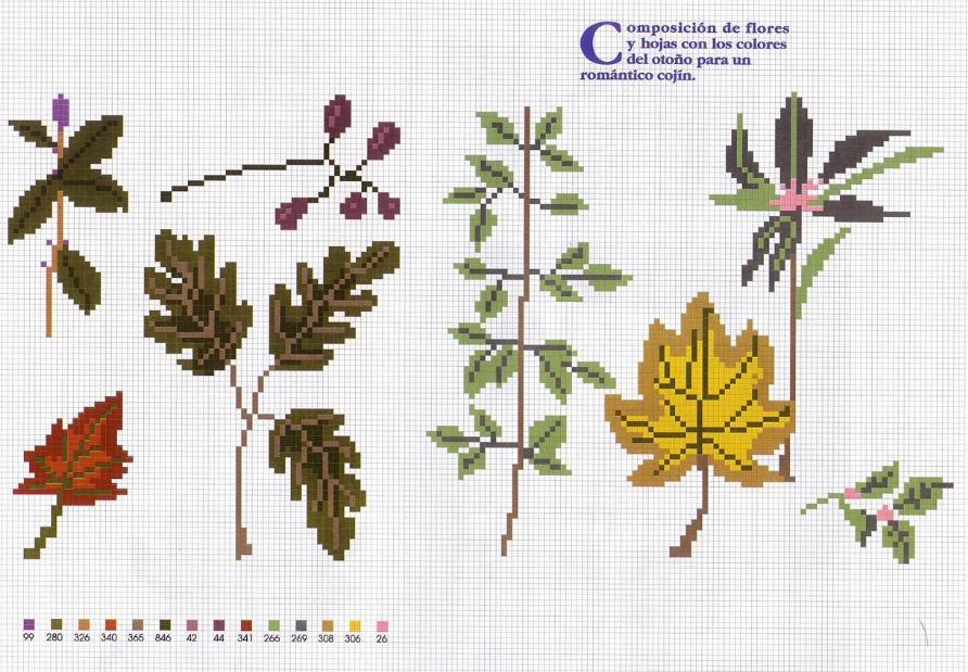 Cojín con hojas a punto de cruz ~ laboresdeesther Punto de cruz gratis