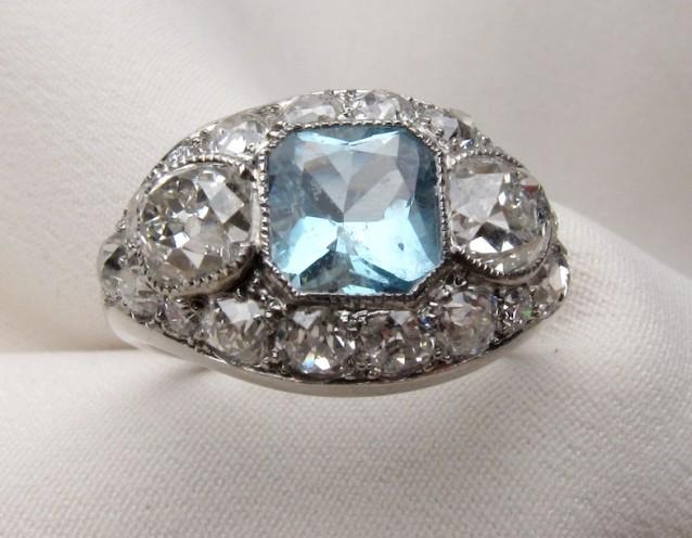 Aquamarine Diamond Engagement Ring