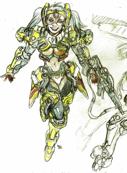space opera girl armour color setting pencils por bordon