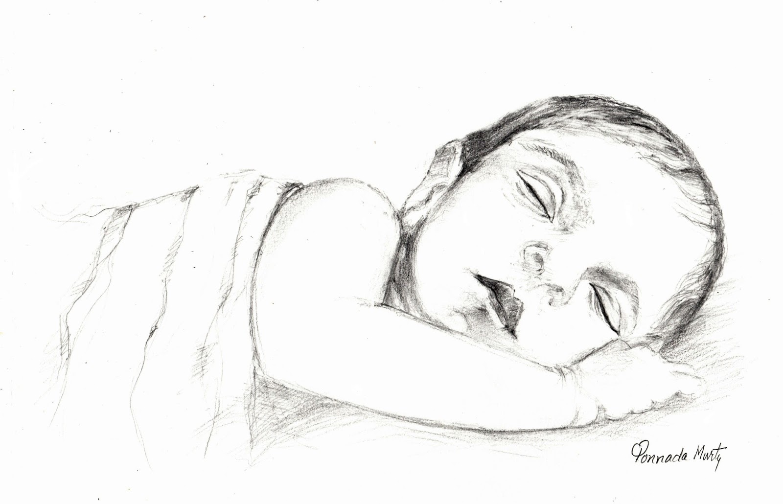 Sketches and Drawings : Sleeping baby - pencil sketch