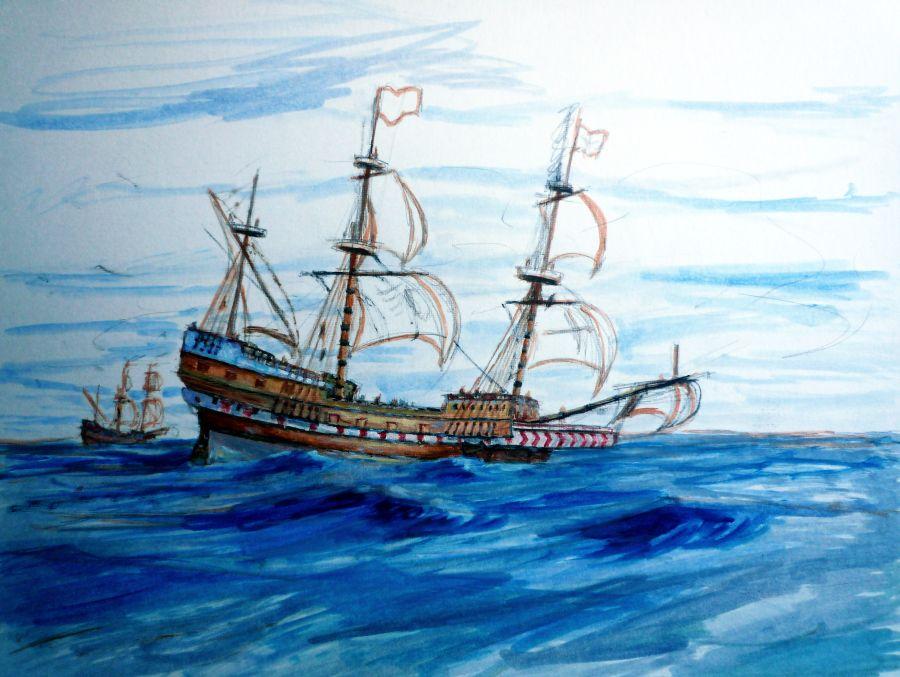 Boceto al oleo del Galeón San Martin