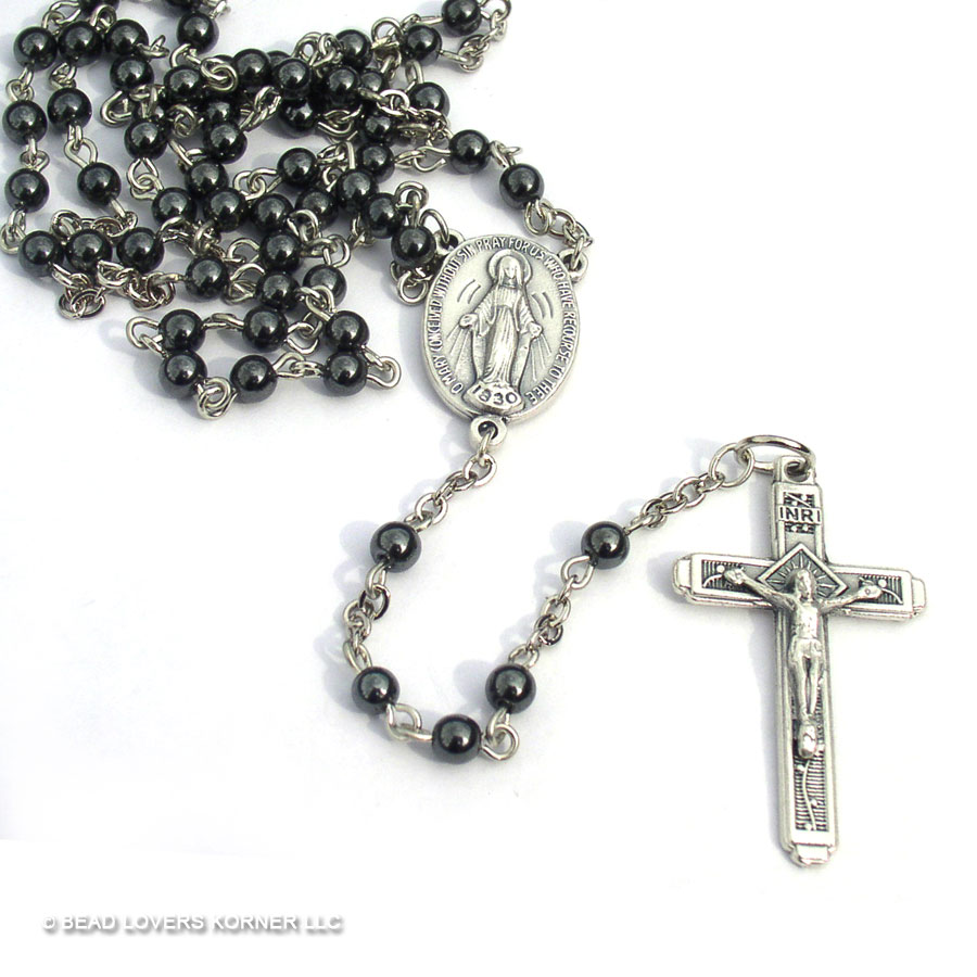 Rosary Beads Clip Art Hematite rosary beads with