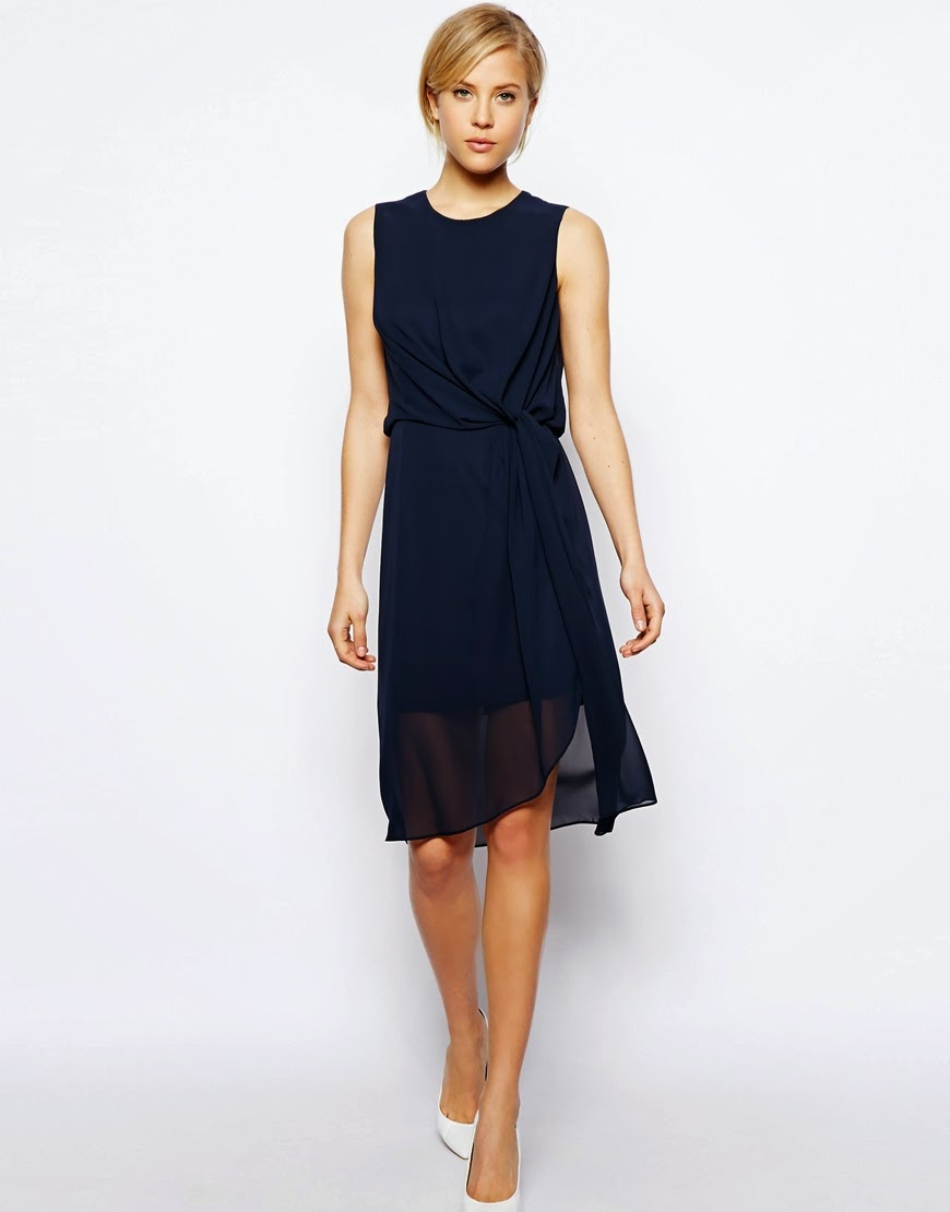 asos navy dress