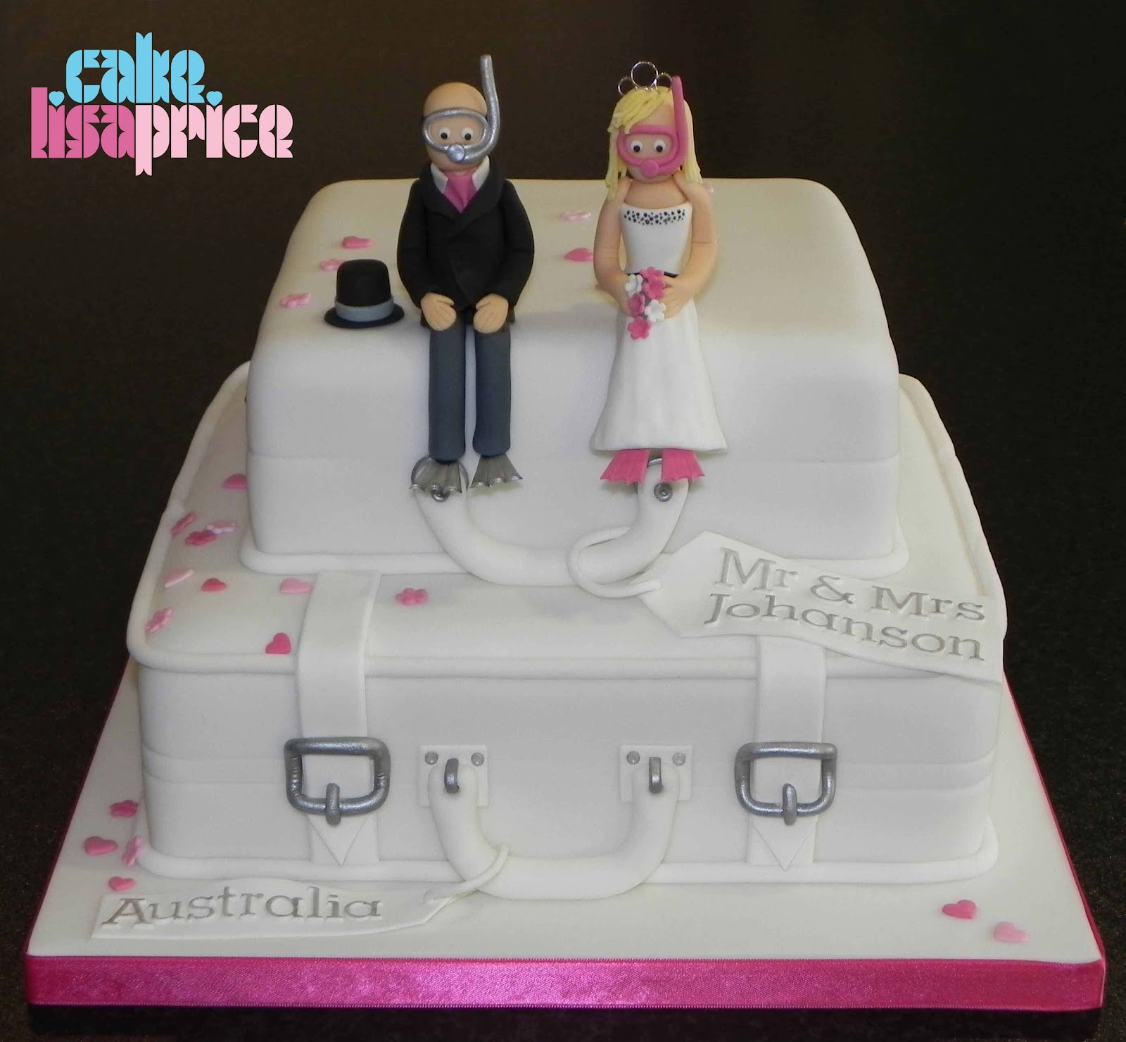 Suitcases Wedding Cake With Scuba Divers
