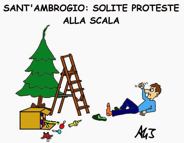 Teatro alla Scala, Sant'Ambrogio, proteste, lirica, satira