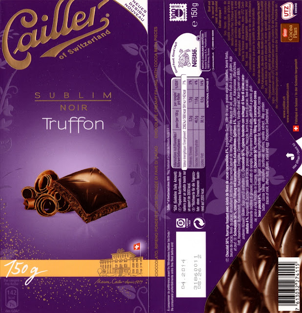 tablette de chocolat noir fourré cailler sublim noir truffon