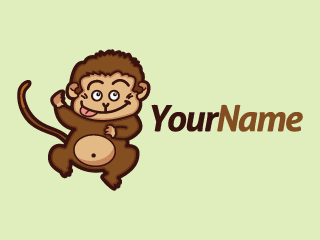 Cute Little Monkey Cartoon Mascot Logo