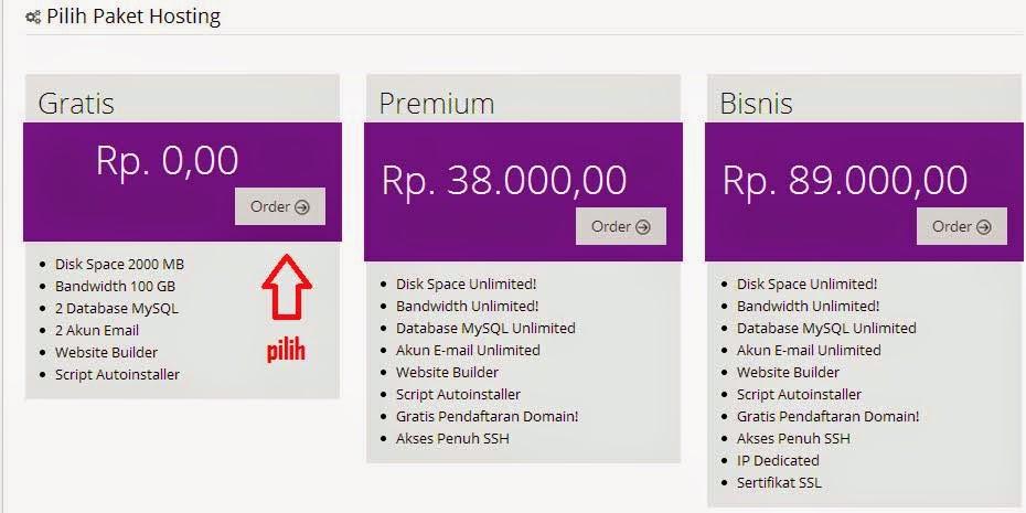 pilih paket hosting