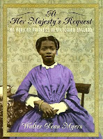 cover of At Her Majesty's Request: an African princess in Victorian England by Walter Dean Myers shows an African woman in a purple Victorian dress