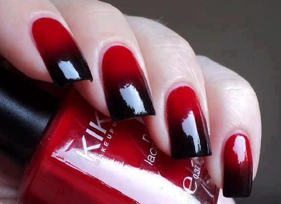Uñas fundido rojo negro