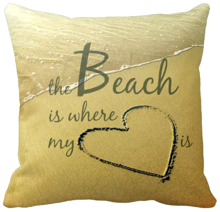 Heart Drawn in Sand Photo Pillow