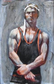 Wrestler+in+Cap++Posing+oil+on+panel30%2