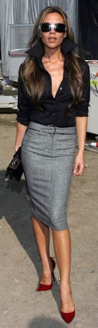 Um elegante substituto do preto - saia cinzenta