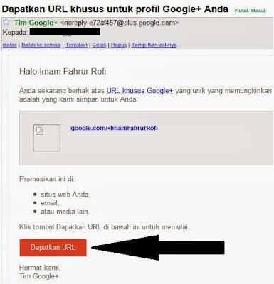 Pesan dari Tim Google+ berisi Tautan Khusus Profil Google+
