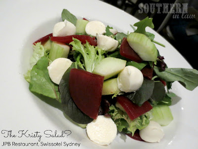 JPB Restaurant Review Swissotel Sydney - Gluten Free Garden Salad with Beetroot, Bocconcini and Cucumber