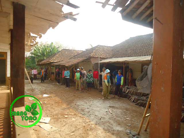 FOTO : Gotong royong ngahiras di dusun Gardu, proses menurunkan genteng