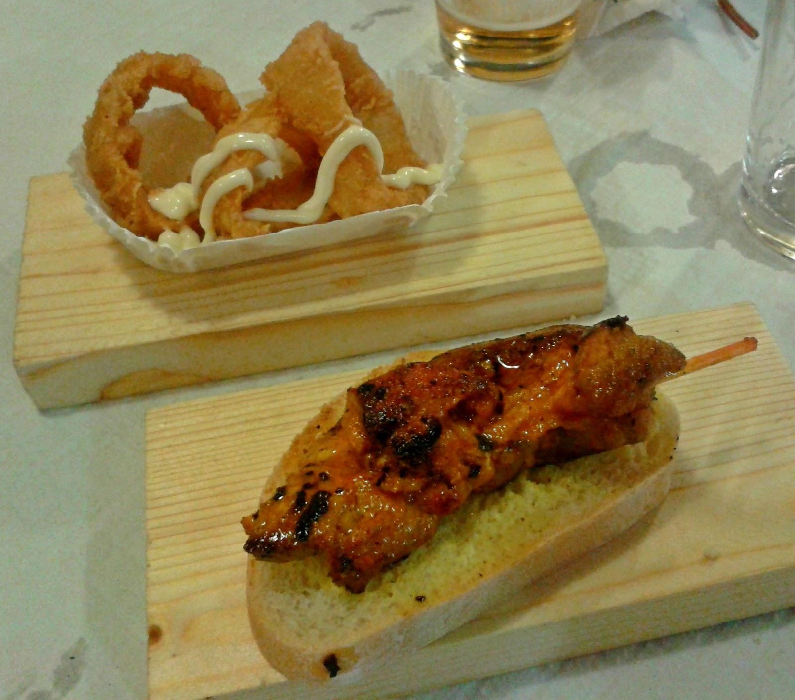 Calamares y pincho de carne