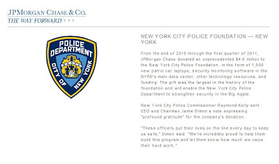 JP Morgan Chase Rent NYPD Donation  Million Dolars to New York City Police Foundation
