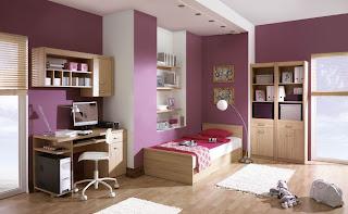 habitación juvenil color morado
