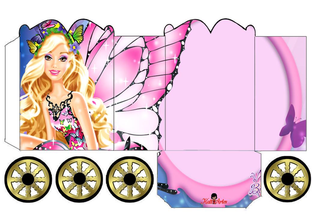 Barbie: Caja con forma de Carruaje para Imprimir Gratis.