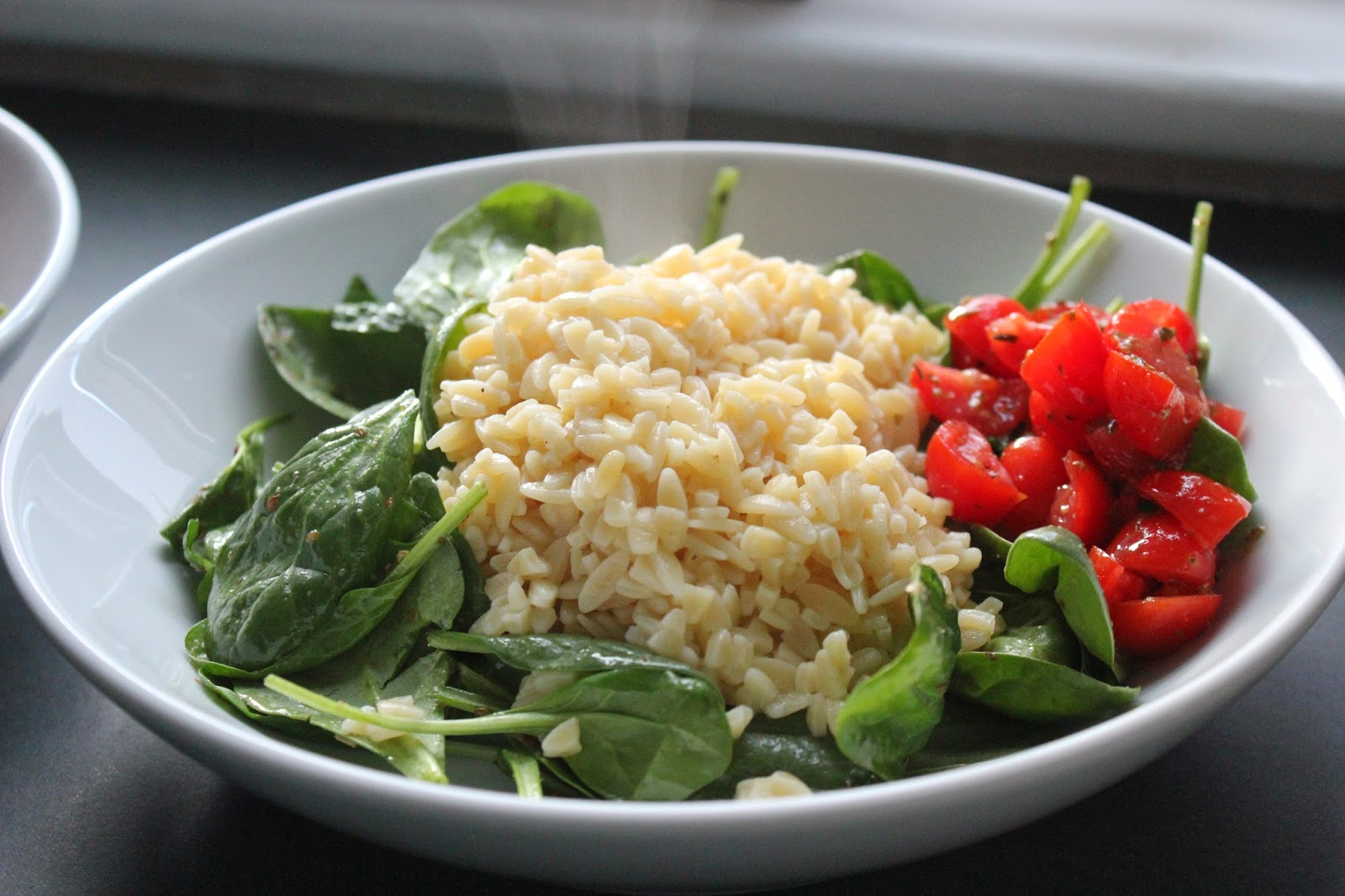 Spinach, orzo, and tomatoes for Greek chicken and orzo bowls