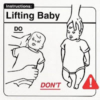 Weird manual about how to hold and lift a baby, support back do not lift by head