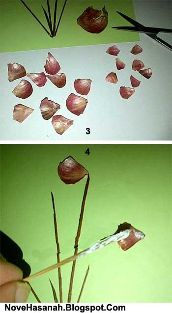 cara membuat hiasan dinding dari kulit bawang putih dan bawang merah yang berbentuk bunga cantik