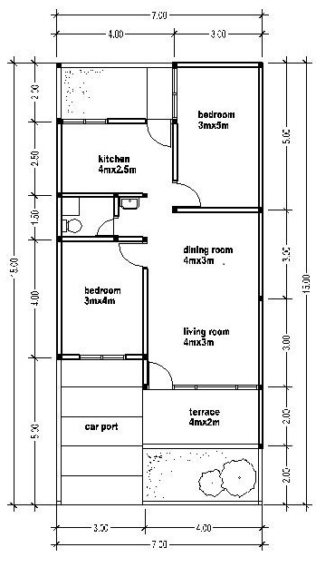 House plans 7x15 bedroom furniture ideas for 15 x 15 kitchen floor plans