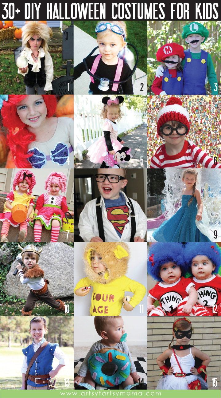 30+ DIY Kids Halloween Costume Ideas at artsyfartsymama.com