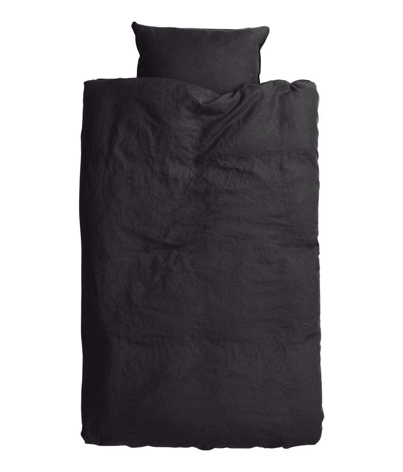 hm mustat pellavapussilakanat