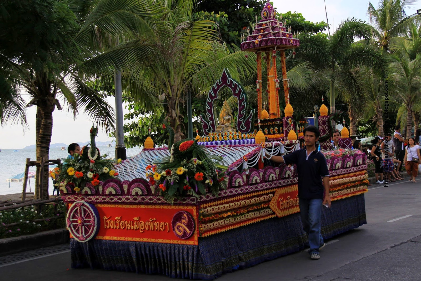 candle float in a Buddhist Lent in 2009, Pattaya, Thailand