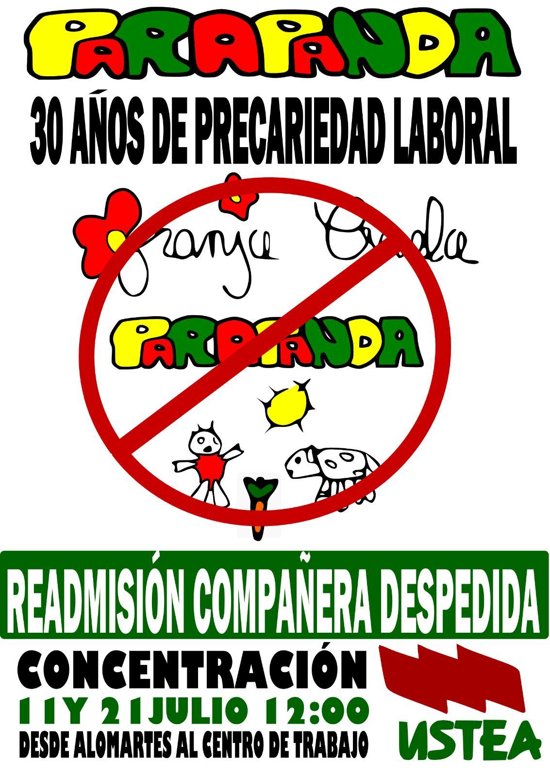 Readimsión de la compañera despedida en la Escuela Granja Parapanda (Alomartes-Granada)
