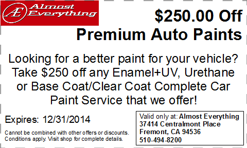Discount Coupon $250 Off Premium Auto Paint Sale December 2014