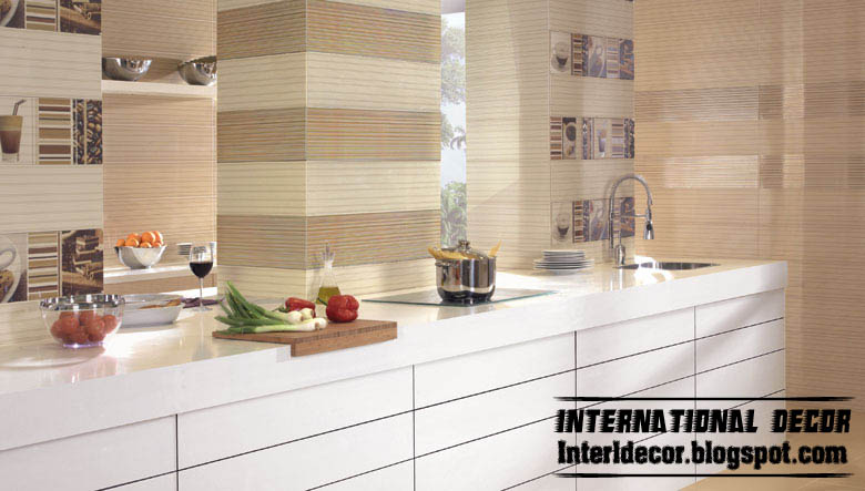 Contemporary kitchens wall ceramic tiles designs colors styles Modern kitchen design tiles