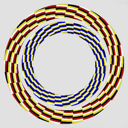 İç içe iki çember göz yanılması, kırmızı ve mavi çemberler
