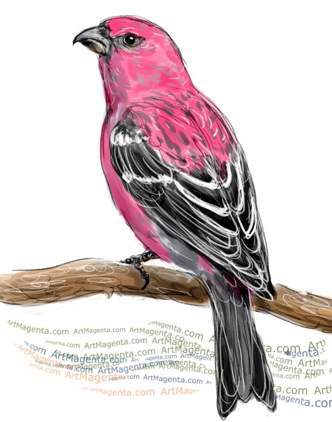 En fågelmålning av en tallbit från Artmagentas svenska galleri om fåglar