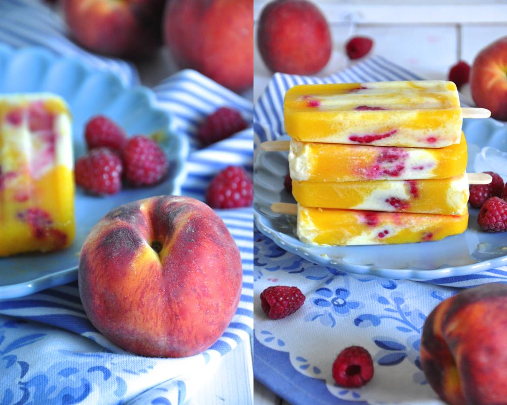 kr melkreationen pfirsich mango joghurt eis mit himbeeren. Black Bedroom Furniture Sets. Home Design Ideas