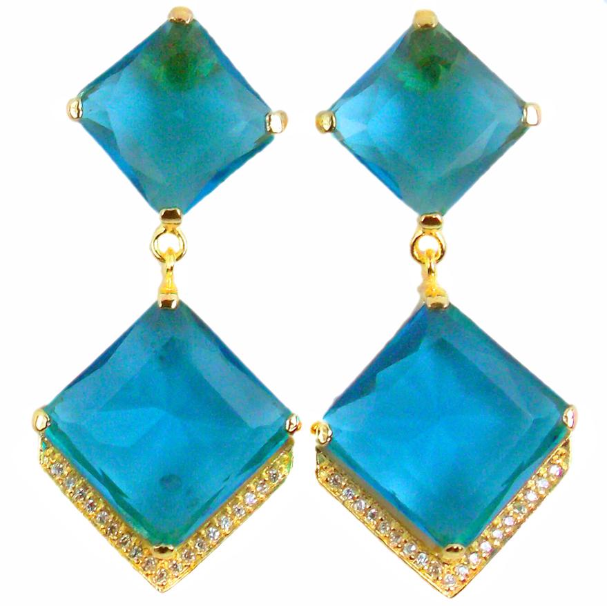 brincos com pedras naturais azuis semi joia