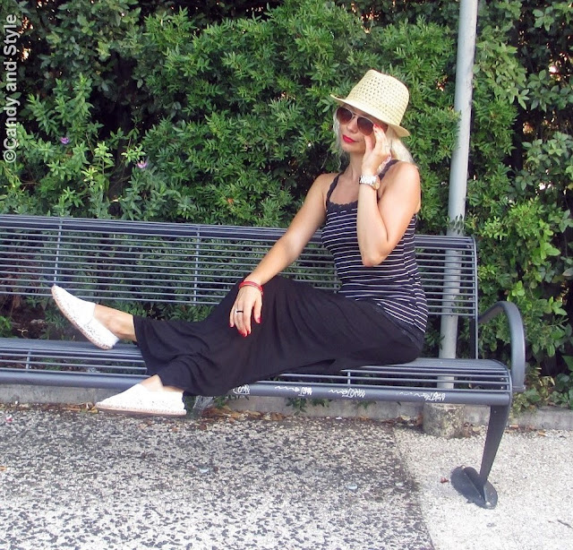 StrawFedora+StripedTank+MaxiSkirt+CrochetEspadrillas+AviatorShades+RedLips+BeachWaves - Lilli Candy and Style Fashion Blog