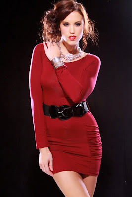 BURGUNDY SEXY KNIT LONG SLEEVE RUCHED POCKET BELTED MINI DRESS