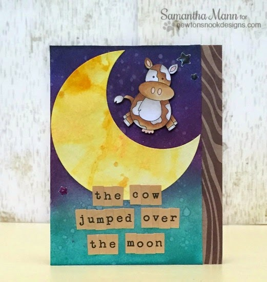 The Cow Jumped Over the Moon Card by Samantha Mann | Farmyard Friends Stamp set by Newton's Nook Designs!