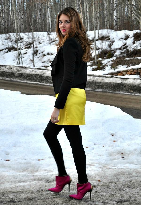 Citrus Skirt, BCBG Draped Blazer and DKNY Satin Pink Booties