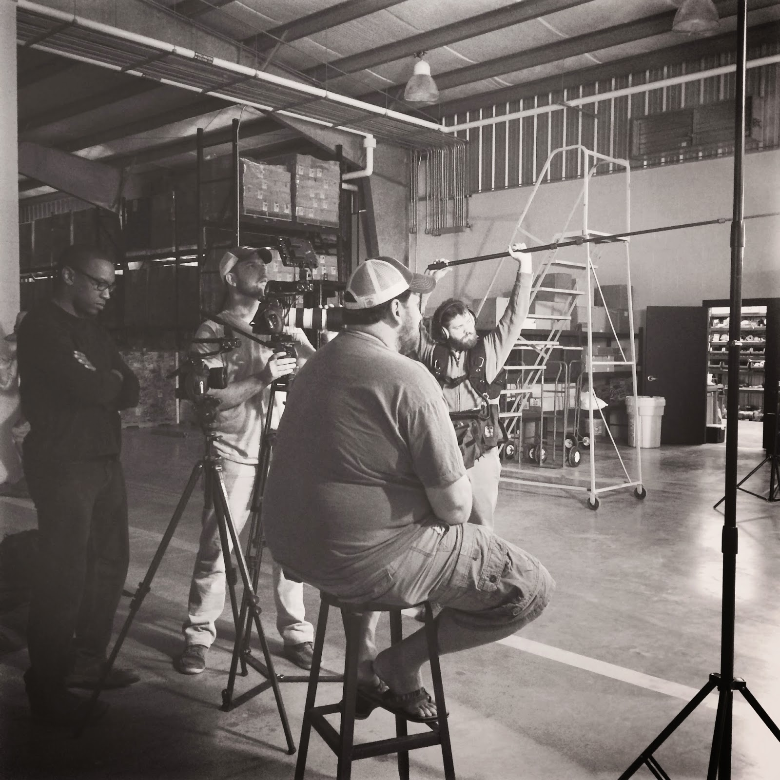 Dan Jones, Fred Mince, Jay Ducote, and Jordan Lewis getting footage at the Bayou Rum distillery