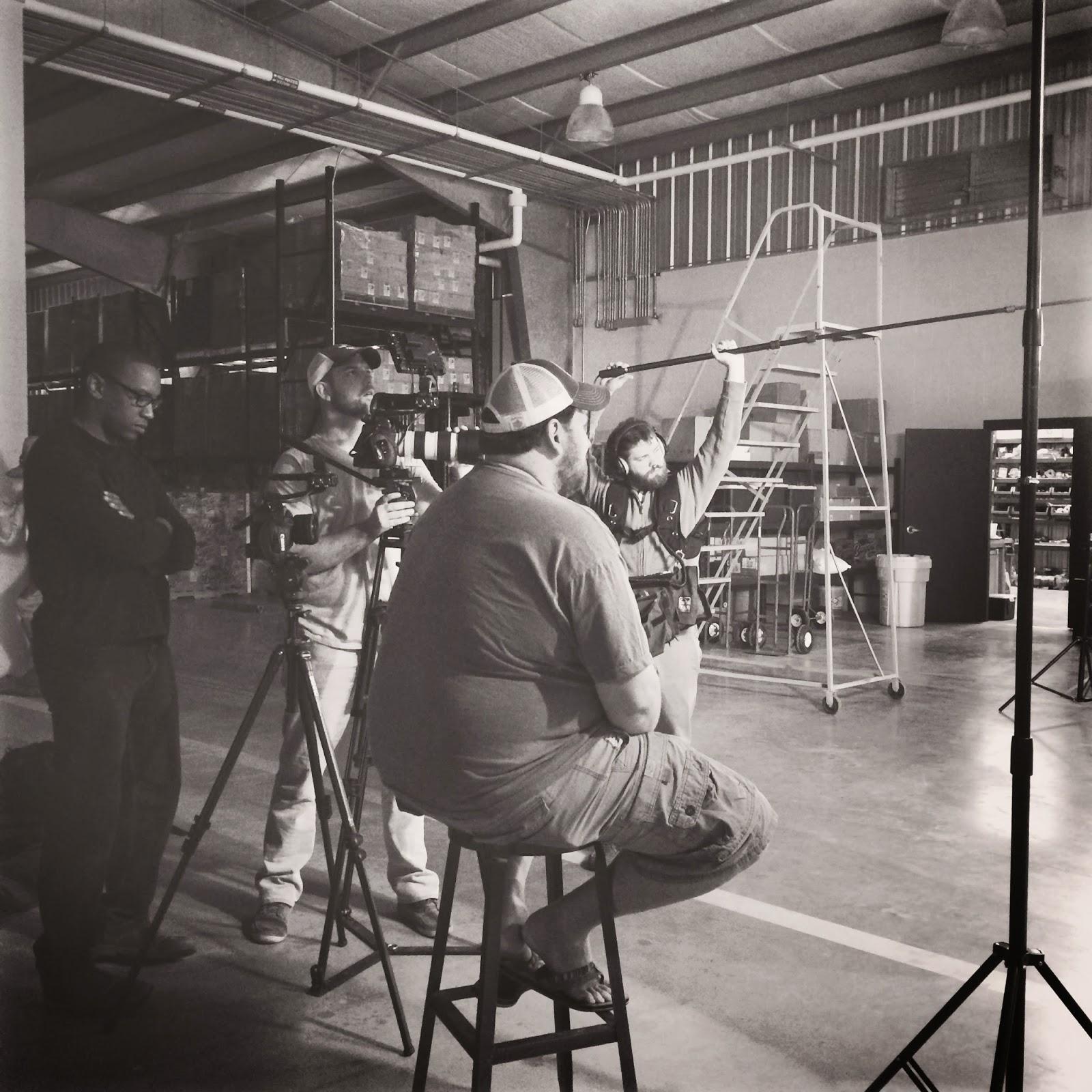 Dan Jones, Fred Mince, Jay Ducote, and Jordan Lewis getting footage at the Bayou Rum distillery
