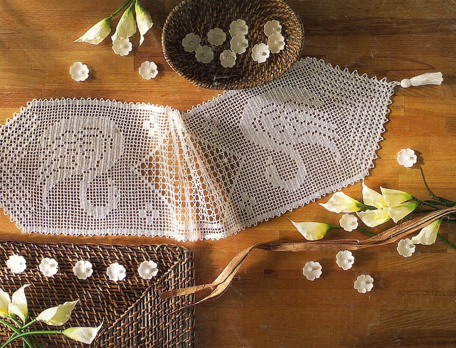 tejidos artesanales en crochet: Camino de mesa lago de los cisnes