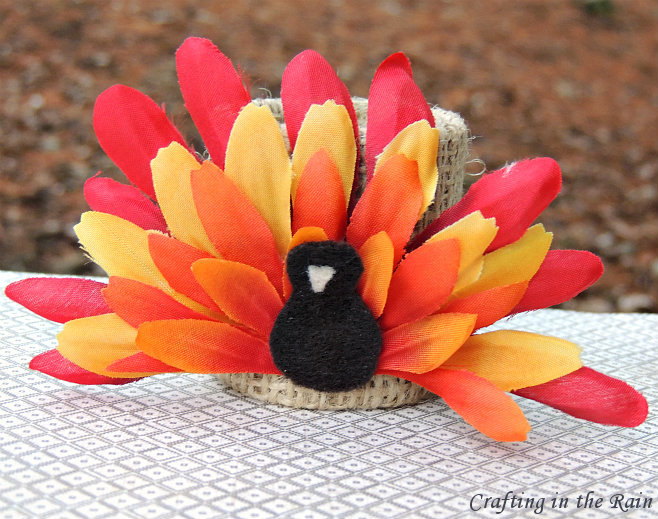 Flower turkey crafting in the rain for Home made thanksgiving decorations