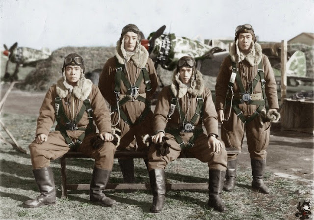 Japanese fighter pilots of the 244. Shinten-Tai of Squadron from Chofu in 1944