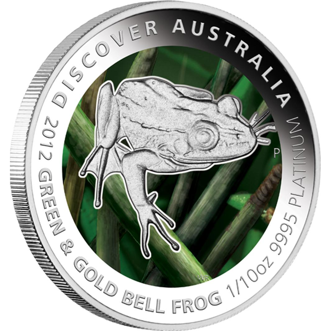 1oz Silver Proof Coin. 2012 Discover Australia Series Green and Gold Bell Frog