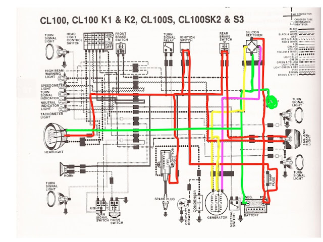 R4L: Honda CB100 Wiring Chop (color coded!)