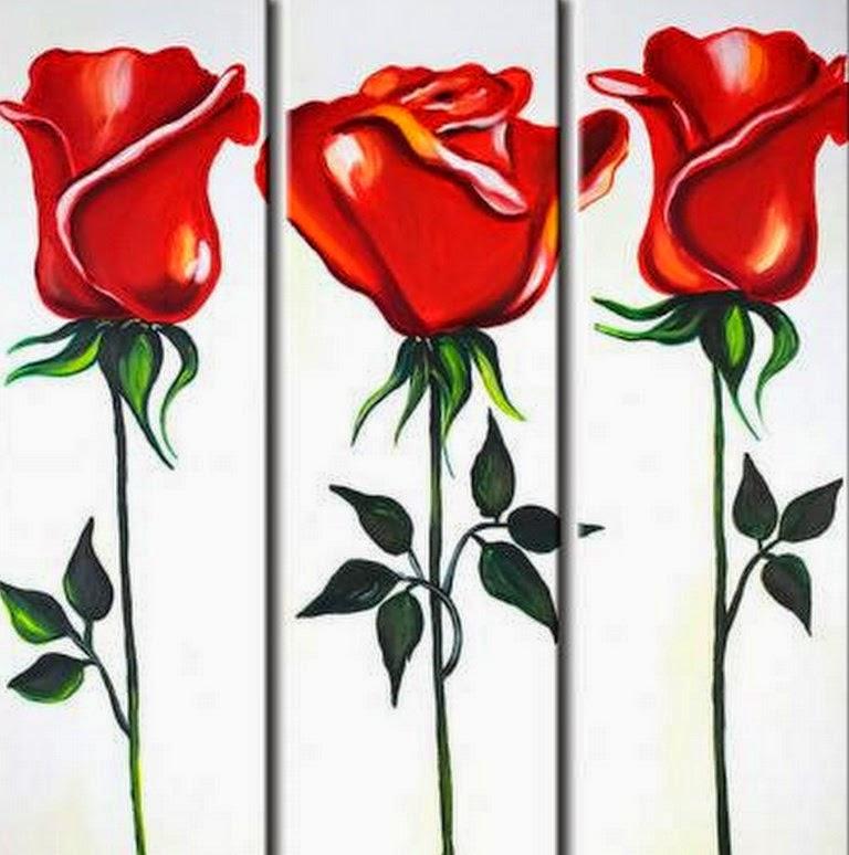 Cuadros modernos pinturas y dibujos cuadros tr pticos de flores rojas - Imagenes para cuadros ...